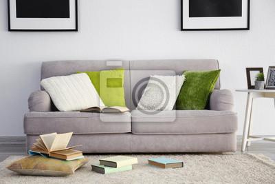 Modernes Wohnzimmer Mit Grauer Couch Fototapete Fototapeten