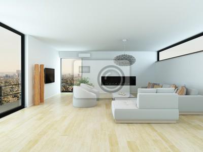 Modernes Wohnzimmer Mit Hellem Parkettboden Fototapete Fototapeten