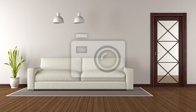 Fototapete Modernes Wohnzimmer Mit Hölzernen Glastür   3d Rendering