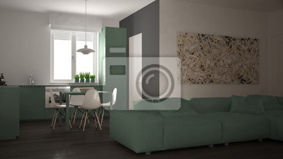 Modernes wohnzimmer mit küche in einer gemütlichen offenen ...