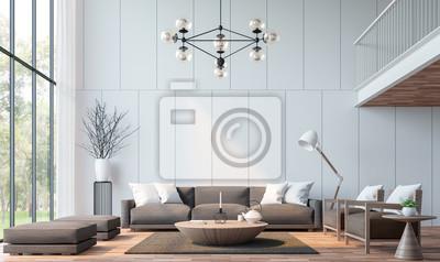 Fototapete Modernes Wohnzimmer Mit Mezzanine 3D Rendering Image.There Sind  Holzboden Verzieren Wand Mit Groove