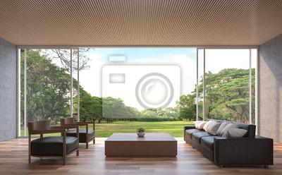 Modernes zeitgenössisches wohnzimmer-3d-renderingbild. die ...