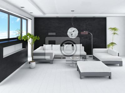 Fototapete Modernste Loft Wohnzimmer Innenraum Mit Schwarzen Steinmauer
