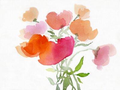 Fototapete Mohnblumen malerei aquarell