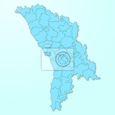Moldawien Karte.Fototapete Moldawien Blaue Karte Auf Degradierten Hintergrund Vektor