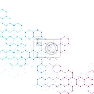Fototapete Molecule Dna Genetische Und Chemische Verbindungen Illustration
