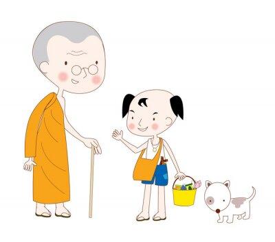 Mönche mit Kindern