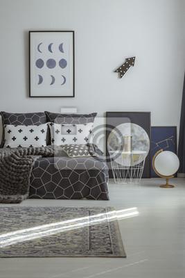 Mond poster im schlafzimmer innenraum fototapete • fototapeten ...