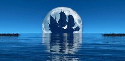 Fototapete Mond und Segelschiff
