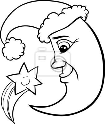 Mond und sterne weihnachten ausmalbilder fototapete • fototapeten