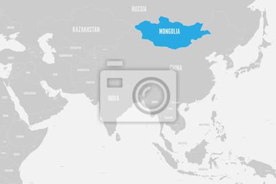 Südasien Karte.Fototapete Mongolei Blau Markiert In Der Politischen Karte Von Südasien