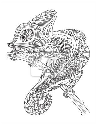 Fototapete Monochrom Chamäleon Malvorlage Schwarz über Weiß