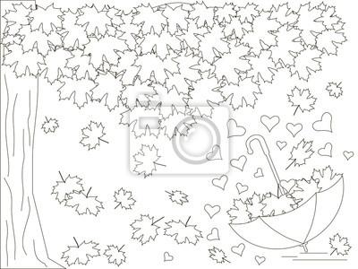 Monochrom romantischen hintergrund mit ahornbaum, umgekehrt ...