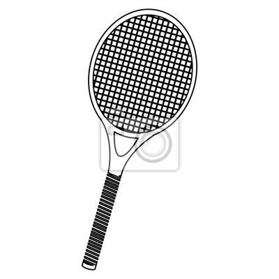 Monochrome Kontur von Tennisschläger Vektor-Illustration