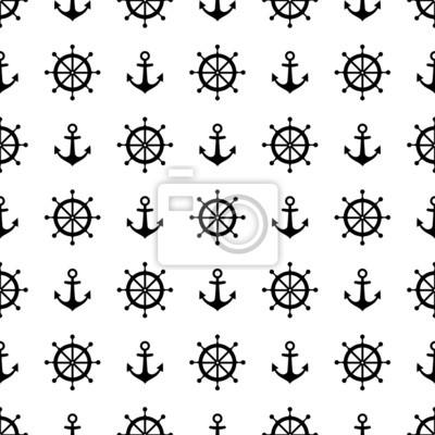 Fototapete Monochrome navy Vektor nahtlose Muster: Anker und Steuerrad.
