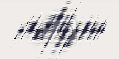 Fototapete Monochrome printing raster, abstract vector halftone background.