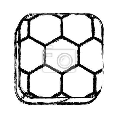 Monochrome Skizze der quadratischen Schaltfläche mit Fußball-Form Ball Vektor-Illustration