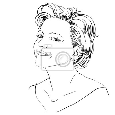 Monochrome Vektor Hand Gezeichnet Bild Friedliche Junge Frau
