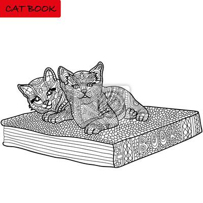 Fototapete Monochromes Bild Ausmalbilder Für Erwachsene Katzenbuch Gekritzel