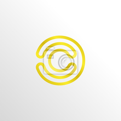 Monogramm buchstabe c marketing logo symbol mit gold farbe ...