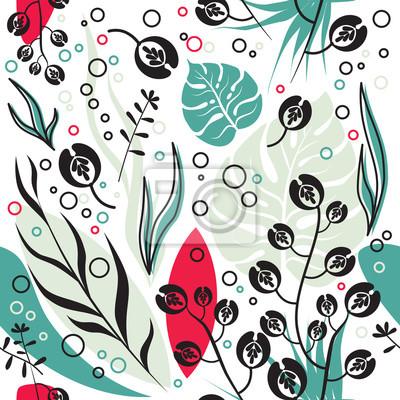 Monstera dekorative pflanze, botanische und geometrische nahtlose ...