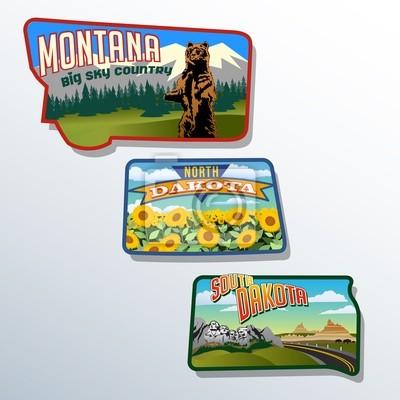 Montana, North Dakota, South Dakota Retro-Illustrationen