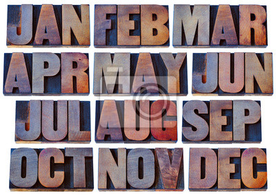 months in wood type - calendar concept
