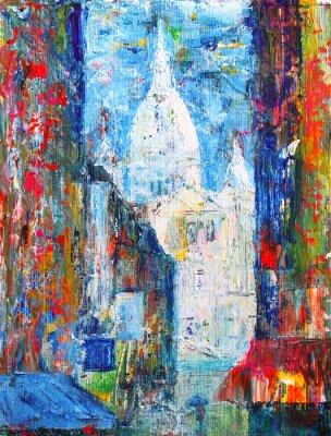 Fototapete Montmartre Straße im Paris, Frankreich von Acryl gemalt