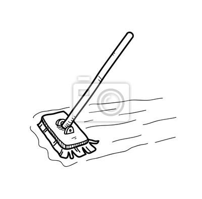 Mopping Der Boden Doodle Eine Hand Gezeichnet Vektor Doodle