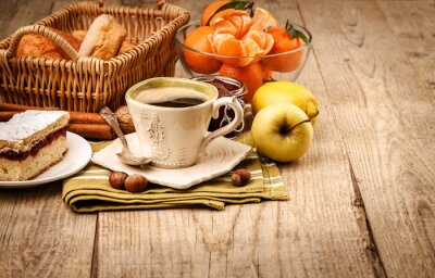 Fototapete Morgenfrühstück mit Kaffee und Obst