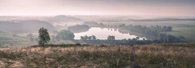 Fototapete Morgennebel und der See