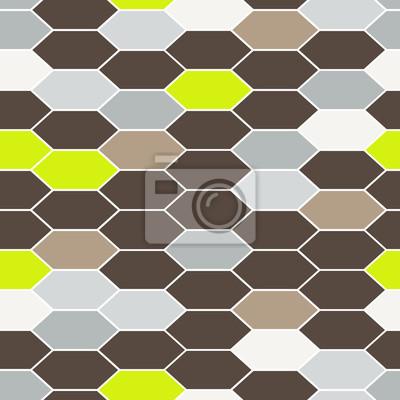 Mosaik Fliesen Ornament Nahtlose Vektor Muster Brown Mesh Grid