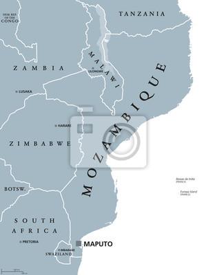 Mosambik Karte.Fototapete Mosambik Politische Karte Mit Hauptstadt Maputo Republik Und