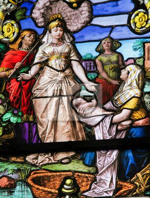 Moses gefunden in der nil - glasmalerei fototapete • fototapeten ...