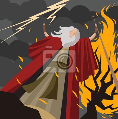 Moses und brennender busch fototapete • fototapeten Emissär, moses ...