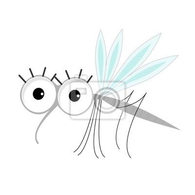 Moskito. Netter lustiger Charakter der Karikatur. Insekten-Sammlung. Flaches Design.