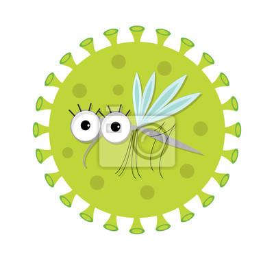 Moskito. Netter lustiger Charakter der Karikatur. Virus Zika Zeichen-Symbol. Insekten-Sammlung. Flaches Design. Isoliert. Weißer Hintergrund.