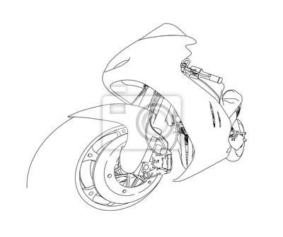 Motorrad skizze. 3d-darstellung fototapete • fototapeten Drahtgitter ...