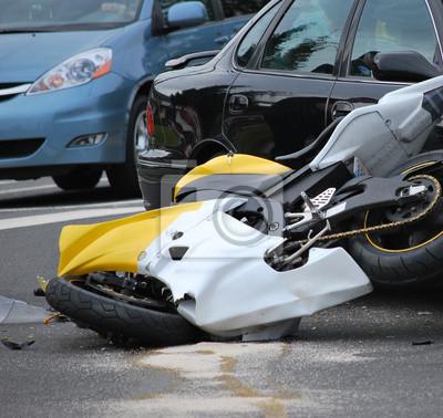 Fototapete Motorrad-Unfall.