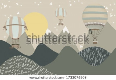 Fototapete mountains and hot air balloons child room wallpaper