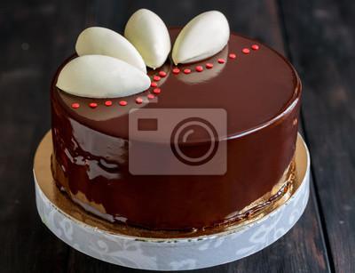 Mousse Kuchen Mit Schokoladenglasur Fototapete Fototapeten