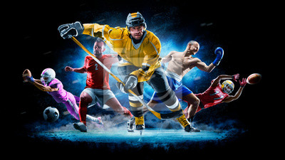 Fototapete Multi sport collage football boxing soccer ice hockey on black background