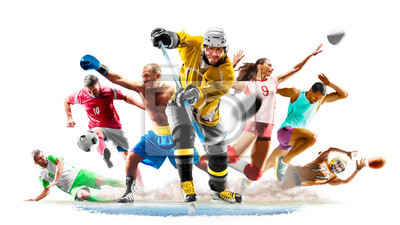 Fototapete Multi sport collage football boxing soccer voleyball ice hockey running on white background