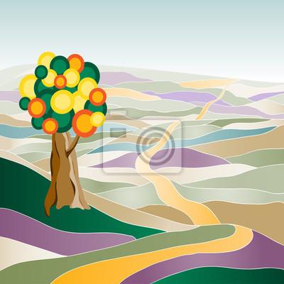Multicolor Sommer Landschaft mit Baum