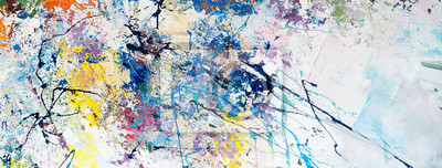 Fototapete Multicolored abstraction of splashes of acrylic paints. On a white background