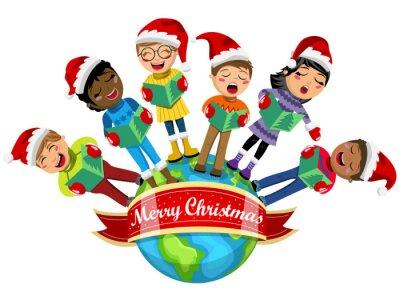 Weihnachten Kinder.Fototapete Multicultural Kinder Tragen Weihnachten Hut Singen Weihnachtslied
