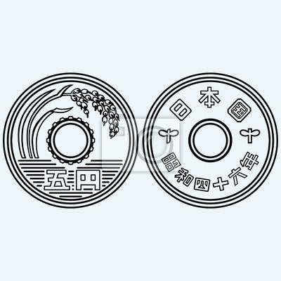 Münzen Der Japanischen Währung Isoliert Auf Blauem Hintergrund