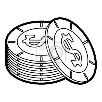 Münzen Icon Finanzielle Artikel Handel Und Markt Thema Isolierte