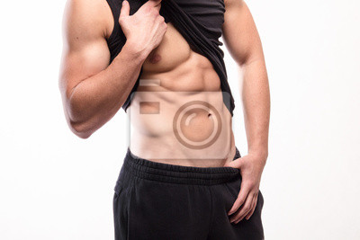 Muscular fitness man torso with six-pack