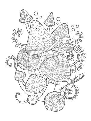 Mushroom Vektor Zeichnung Malbuch für Erwachsene
